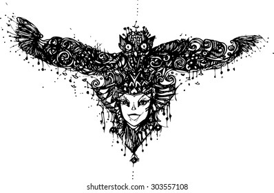 the mask of owl design for tattoo  hand draw of imagination line art design