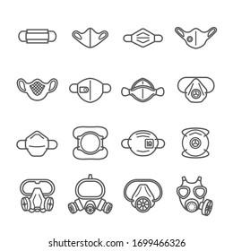 Mask protection virus icon set .Safety breathing mask