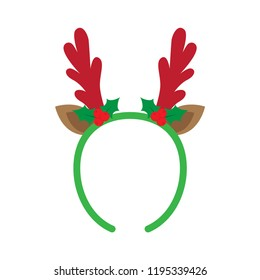 mask with reindeer antler isolated on white background. Merry Christmas. vector illustration