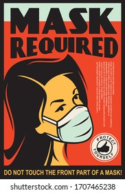 Mask required door sign design template. Girl with safety mask comic style drawing. Vector virus protection illustration.