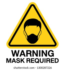 Mask required ,Gas hazard, Ware Respirator, Dust hazard, hygienic mask warning yellow sign vector icon isolated on white background.
