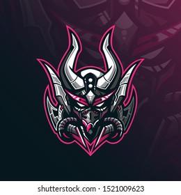 mask robot mascot logo design vector with modern illustration concept style for badge, emblem and tshirt printing. robot mask illustration for sport team.