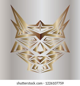 Mask of robots vector. Design head cats metal effect gradient gold on silver background. Set 3