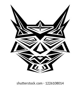 Mask of robots vector. Design head cats black on white background. Set 2