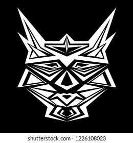 Mask of robots vector. Design head cats white on black background. Set 1