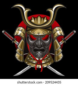 mask samurai with katana