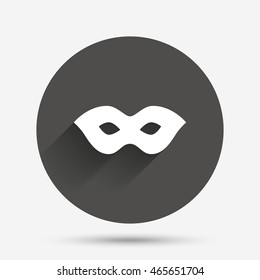 Mask sign icon. Anonymous spy access symbol. Circle flat button with shadow. Vector