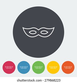 Mask. Single flat icon on the button. Vector illustration.