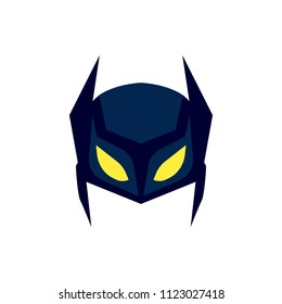 Mask of super hero face character in flat design template. Comic cartoon hero avatar vector illustration