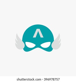 Mask of super hero face character in flat design template. Vector illustration