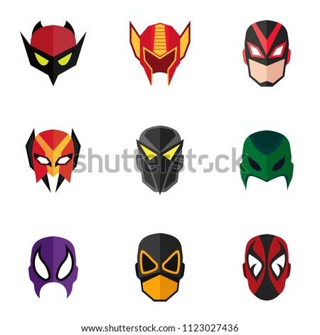 mask super hero face character flat stock vector royalty free