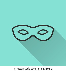 Mask vector icon. Black illustration isolated on green background for graphic and web design.