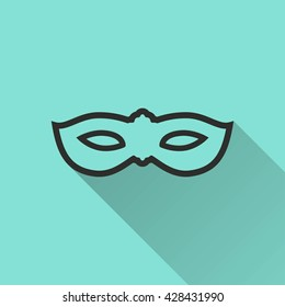Mask vector icon with long shadow. Black illustration isolated on green background for graphic and web design.