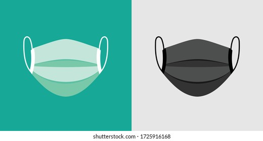 mask vector with turquoise and dark grey color