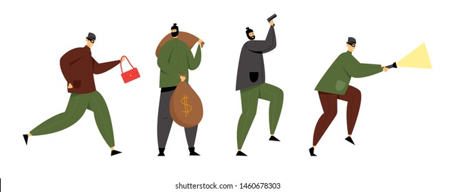 Masked Burglars or Robbers Set. Criminals Holding Gun, Stolen Bag, Money Sacks and Glowing Flashlight. Thieves Steal Money, Robbery or Theft. Organized Gangsters Band. Cartoon Flat Vector Illustration