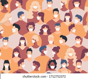 Masked crowd seamless pattern. Crowd of people seamless background. Epidemic concept