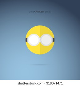 The Masked Emoji, emoticon flat style icon, super hero villain