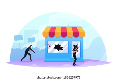 Masked Looters Breaking Store Showcase, Aggressive Masked Male Characters Looting, Damage Equipment, Throw Stones in Shop Window. Political Conflict, Violence Riots. Cartoon People Vector Illustration