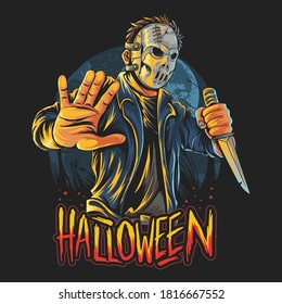 masked man halloween costume party with knife in hand