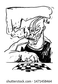 The masked man smokes a cigar and plays checkers. Black and white illustration, perfect for use in publications, packaging design, prints, posters, t-shirts, souvenirs.