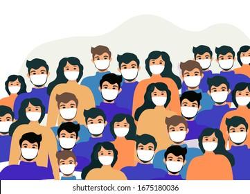 Masked people, crowds, virus protection. Coronavirus concept. flat style icon. Isolated on a white background. Vector illustration