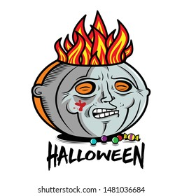Masked Pumpkin Michael Myers. New original illustration. Vector.