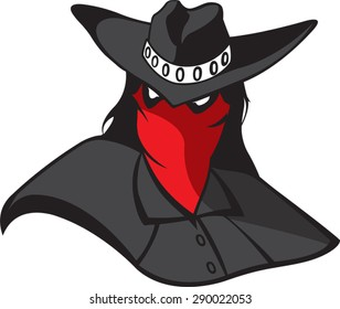 Masked Renegade  Cartoon masked outlaw. Vector file