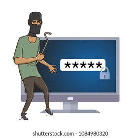Masked robber with a puller trying to hack computer. Robber with the pry bar in front of computer screen with passward lock on it. Comic vector illustration. Isolated on white background