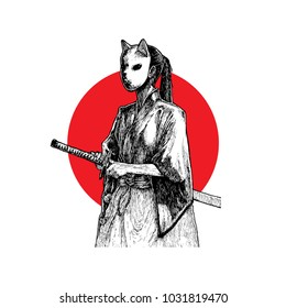 Masked Samurai Girl Hand Drawn Illustration Vector