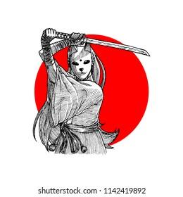 Masked Samurai Girl Hand Drawn Illustration Vector