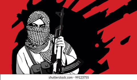 Masked terrorist with AK-47 rifle