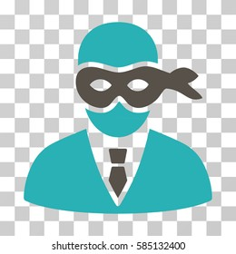 Masked Thief icon. Vector illustration style is flat iconic bicolor symbol, grey and cyan colors, transparent background. Designed for web and software interfaces.