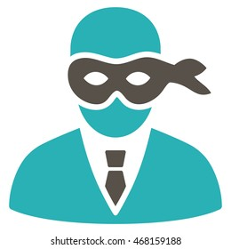 Masked Thief icon. Vector style is bicolor flat iconic symbol with rounded angles, grey and cyan colors, white background.