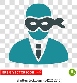 Masked Thief vector icon. Image style is a flat soft blue pictograph symbol.