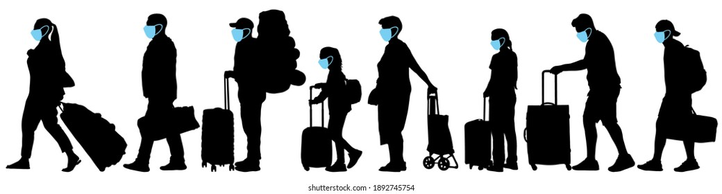 Masked tourists. Crowd of people with suitcases. Vector silhouette set