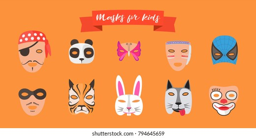 Masks for children with different animals vector illustrations. Decoration for kids party with faces of cartoon characters