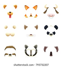 Masks of funny animals. Ears and nose. Vector pictures for photo or video filters. Mask cat and puppy, dog muzzle and mouse animal illustration