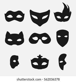 masks silhouette in black   vector
