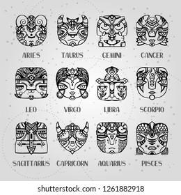 Masks zodiac signs horoscope faces. Astrology vector illustration. Twelve constellations: aries, taurus, gemini, cancer, leo, virgo, libra, scorpio, sagittarius, capricorn, aquarius, pisces