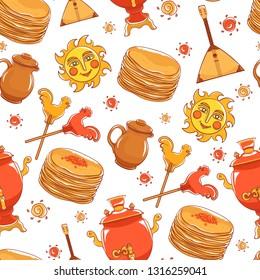 Maslenitsa pattern- slavic holiday carnival. Pancakes with filling, clay jug, slavic sun, balalaika, candy cockerel and red samovar.