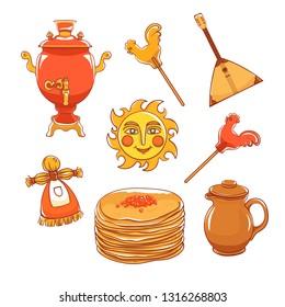 Maslenitsa set - slavic holiday carnival. Pancakes with filling, clay jug, slavic sun, balalaika, candy cockerel and red samovar.