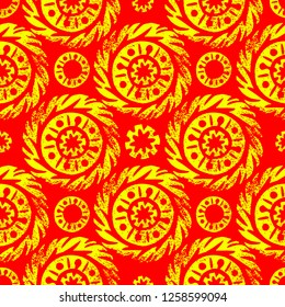Maslenitsa, Shrovetide. Russian traditional spring holiday. Circular sun ethnic ornament. Print linocut. Seamless pattern