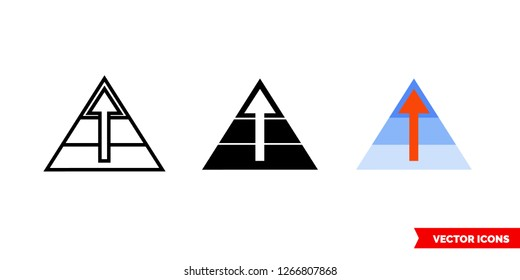 Maslow pyramid icon of 3 types: color, black and white, outline. Isolated vector sign symbol.
