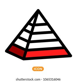 Maslow pyramid symbol. Icon of Pyramid in vector. Pyramid with five sections.