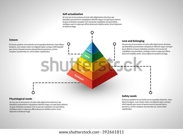 Maslows Hierarchy Infographic Explanations Stock Vector