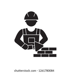 Mason bricklayer black vector concept icon. Mason bricklayer flat illustration, sign