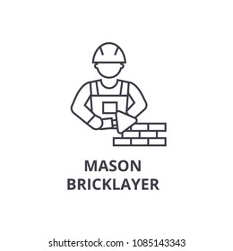 mason bricklayer vector line icon, sign, illustration on background, editable strokes