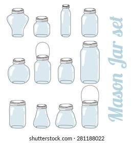 Mason glass vector jars set for preserve