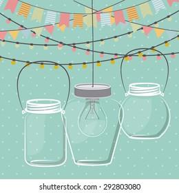 Mason jar digital design, vector illustration eps 10
