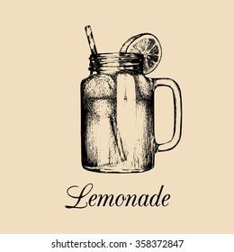 Mason jar isolated. Vector home made lemonade with straw and slice of lemon illustration. Hand drawn sketch of soft drink for restaurant, bar, cafe menu design, logo etc.